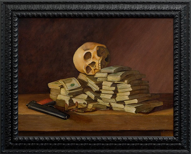 Chris Peters | No Protection | Skull Still Life Painting | Jesse Metcalfe, Actor